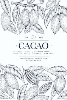 Cacao sjabloon. chocolade cacaobonen achtergrond. hand getekende illustratie. vintage stijl illustratie.