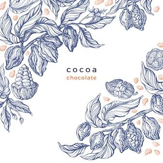 Cacao textuur grafische tak kunst hand getekend botanische illustratie
