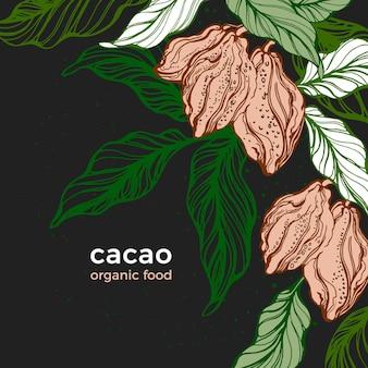 Cacao vintage sjabloon. kunst hand getekend botanische boom, boon, fruit, blad
