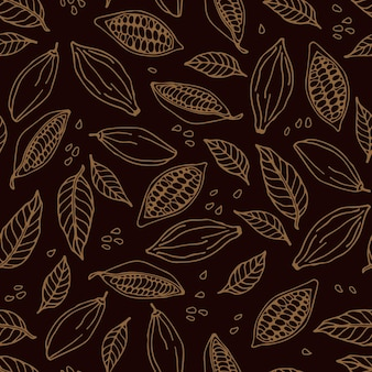 Cacaobonen en cacaobladeren naadloos patroon cacaobonenbladeren schets