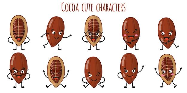 Cacaofruit schattige grappige vrolijke karakters met verschillende poses en emoties. natuurlijke vitamine antioxidant detox voedsel collectie. cartoon geïsoleerde illustratie.