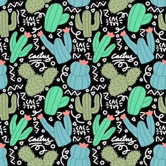 Cactus doodle naadloze patroon