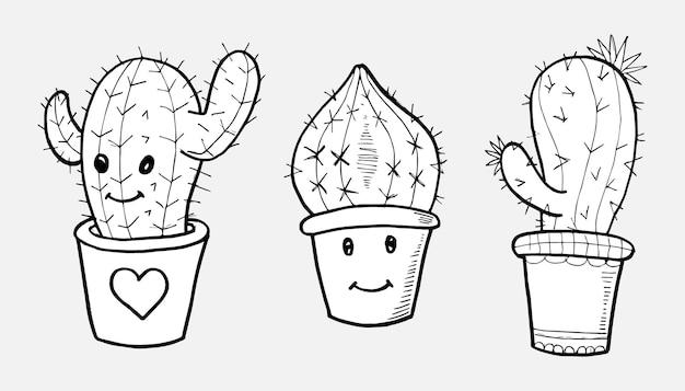 Cactus doodle set, hand getekende illustratie omgezet in vector.