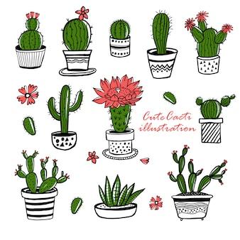 Cactus en sappige hand getrokken set in schets stijl. doodle kleuren bloemen in potten. kleurrijke schattige kamer interieur planten.