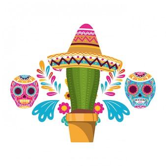 Cactus en schedel met mexicaanse hoed pictogram