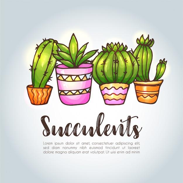 Cactus en vetplanten illustratie