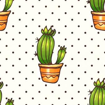 Cactus en vetplanten naadloos patroon