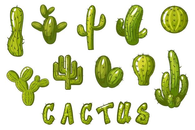 Cactus. grote set cartoon mexicaanse cactus, grappige getextureerde tekst cactus