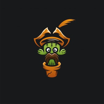 Cactus hoofd piraten logo ilustration