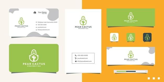 Cactus huis logo ontwerp en visitekaartje
