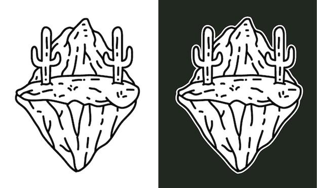 Cactus in de woestijn monoline-afbeelding
