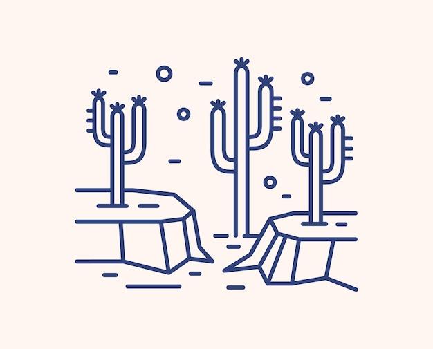Cactus in droge woestijnlandschap schets illustratie. blauw lineair wild mexicaans landschap dat op wit wordt geïsoleerd