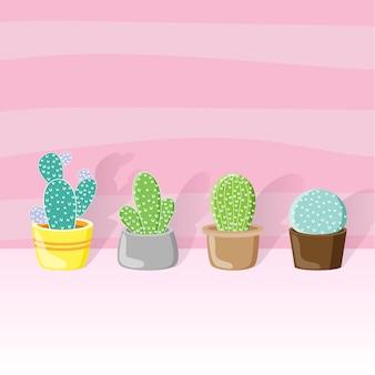 Cactus in een pot alle stijl en behangkleur roze.
