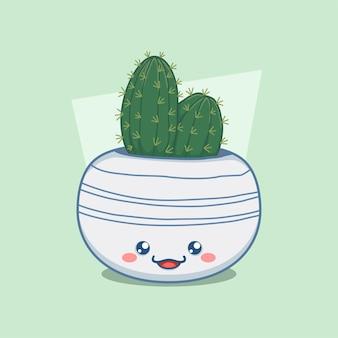Cactus in een schattige ronde pot