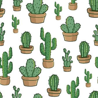 Cactus in pot naadloze patroon