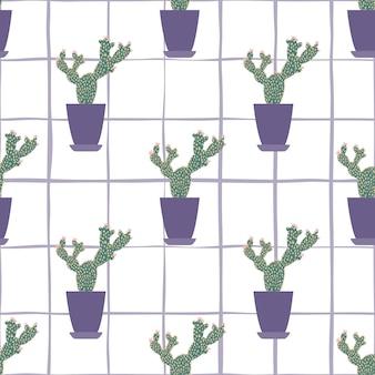 Cactus in potten naadloos patroon op streepachtergrond.