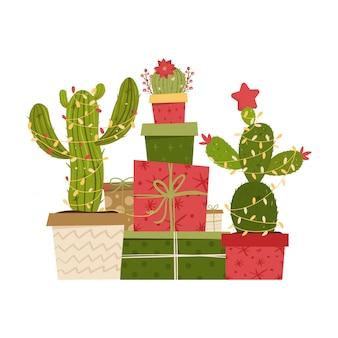 Cactus kerstboom en geschenken.