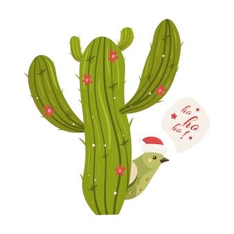 Cactus kerstboom. modern plat concept.