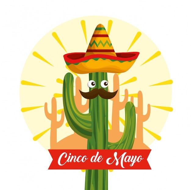 Cactus met ogen die mexicaanse hoed dragen aan gebeurtenis