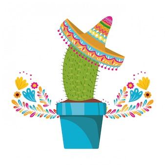 Cactus met pot en mexicaanse hoed pictogram