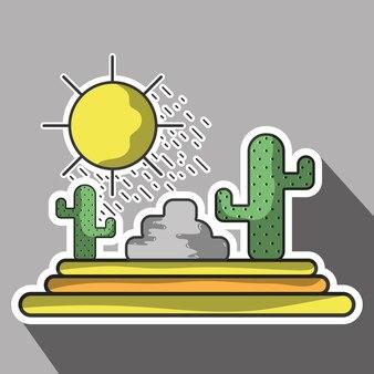 Cactus met zon natuurlijke aventure