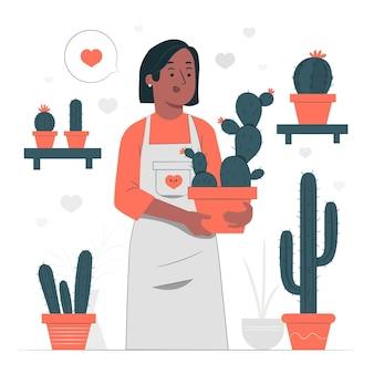 Cactus minnaar concept illustratie