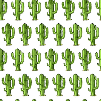 Cactus naadloos patroon. succulente of tropische plant. wilde westen en cowboy. gegraveerde hand getrokken in oude schets of en vintage stijl en labels voor prints.