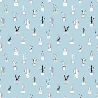 Cactus naadloos patroon. vectorillustratie voor stof en cadeauverpakking papier ontwerp.