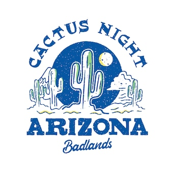 Cactus nacht arizona kleurrijk logo ontwerp
