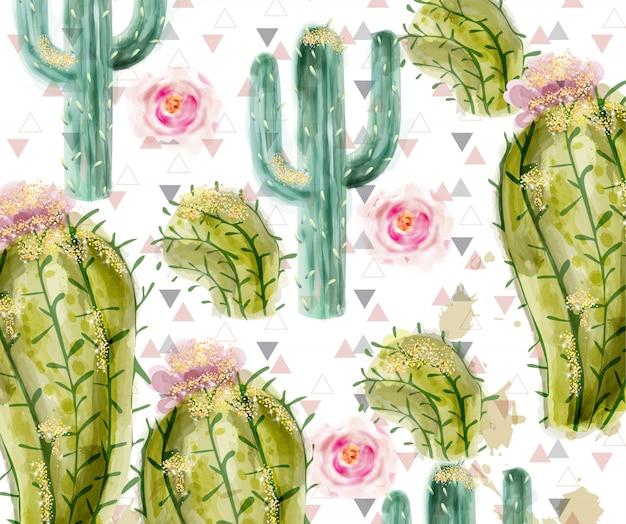 Cactus patroon aquarel