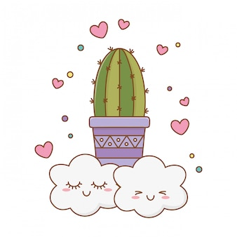 Cactus pictogram cartoon met wolken
