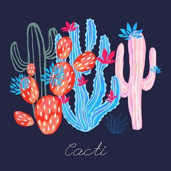 Cactus sappige wilde bloemen kleurrijke aquarel schets stijl afdrukken.