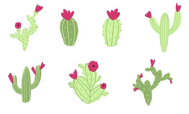 Cactus set doodle bloemen en plant kinderachtige kinderkamer illustratie in cartoon handgetekende stijl