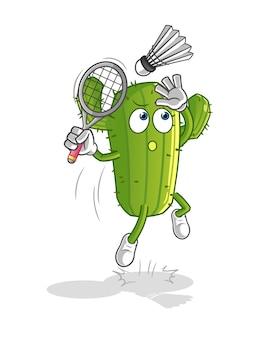 Cactus smash op badminton cartoon geïsoleerd op wit