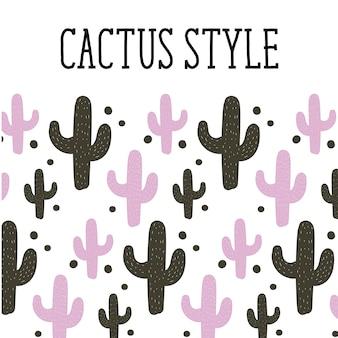 Cactus-stijl achtergrondpatroon schattig