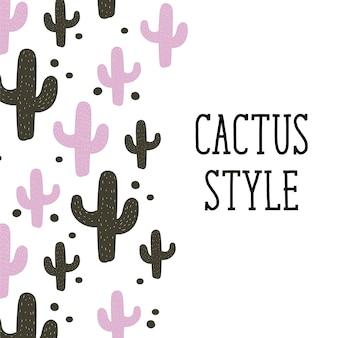 Cactus stijl vector achtergrond schattig ontwerp illustratie