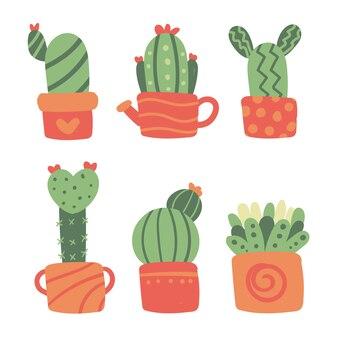 Cactus vectorinzamelingontwerp
