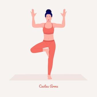 Cactusarms yoga pose jonge vrouw die yoga-oefening beoefent