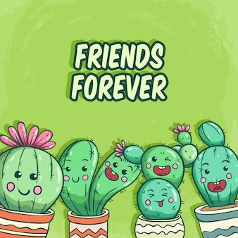Cactuscollectie met grappig gezicht en vrienden die voor altijd op groen van letters voorzien