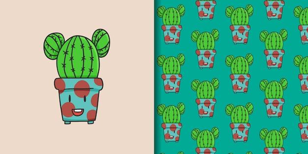 Cactuskarakter en naadloos patroon