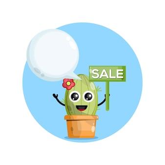 Cactuskarakter met verkoop kondigt aan