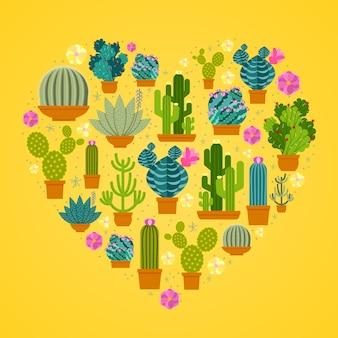 Cactussen in hartvorm.