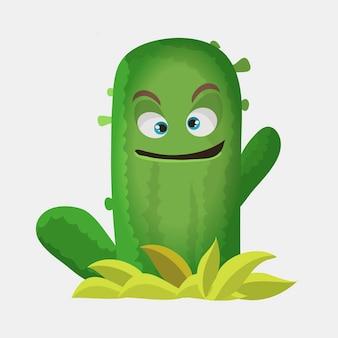 Cactussen schattig kawaii vector karakter. plant met lachende gezichten. cactus zwaaiende tak. grappige emoji, emoticon set. geïsoleerde cartoon kleur illustratie.