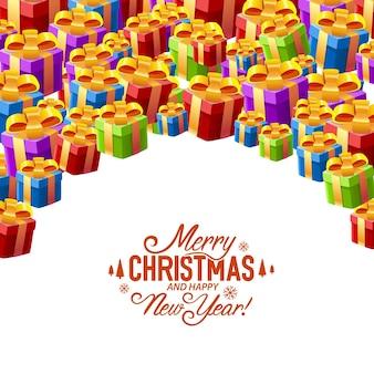 Cadeau collage omslag vrolijk kerstfeest. vector illustratie