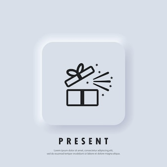 Cadeau icoon. geschenkdoos pictogram. aanwezig voor jubileum, verjaardag, kerstmis, nieuwjaar. vector. neumorphic ui ux witte gebruikersinterface webknop. neumorfisme