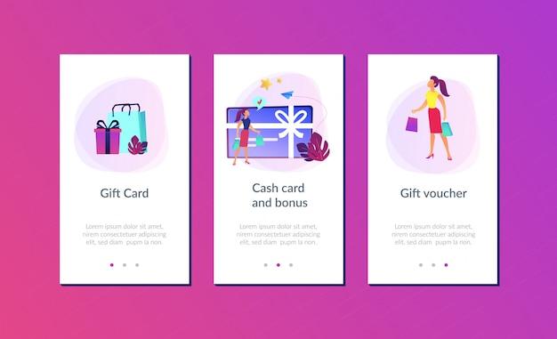 Cadeau kaart app interface sjabloon.