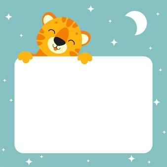 Cadeau kleur wenskaart tijger slaap dier met witte lege poster