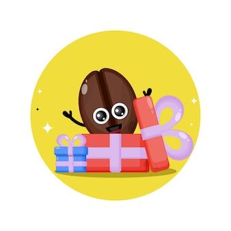 Cadeau koffiebonen schattig karakter mascotte