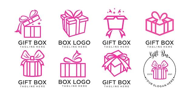 Cadeau pictogrammenset lijn logo ontwerpsjabloon