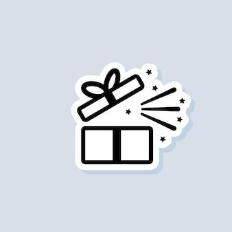 Cadeau sticker. geschenkdoos pictogram. aanwezig voor jubileum, verjaardag, kerstmis, nieuwjaar. vector op geïsoleerde achtergrond. eps-10.